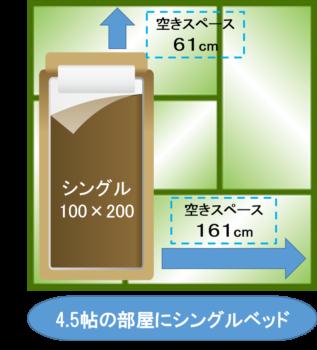 4.5帖の部屋に シングルベッド 1台 レイアウト図