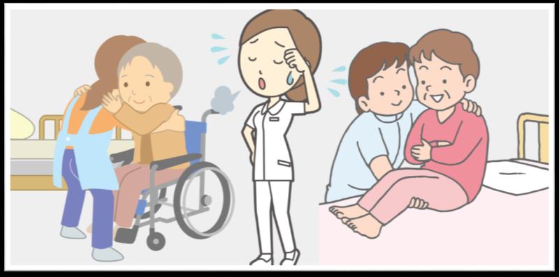 介護 看護師の腰痛対策 中腰の姿勢 患者の治療,介助 患者の持ち上げ